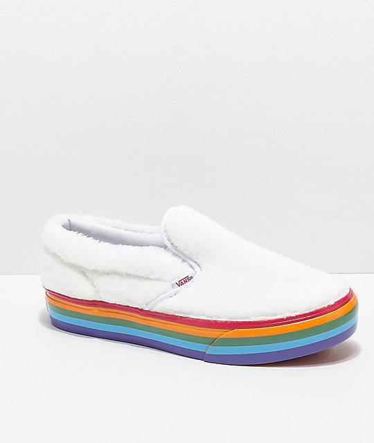 ea3ff4288 Vans Slip-On Shearling Rainbow Platform Shoes