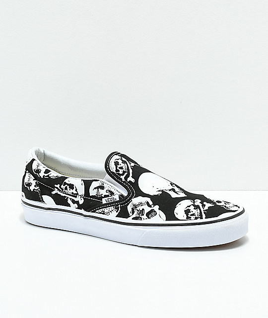 Vans Slip On Skulls Black & White Skate Shoes