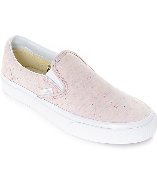 100% quality store casual shoes Vans Slip-On Speckle Jersey Pink Shoes
