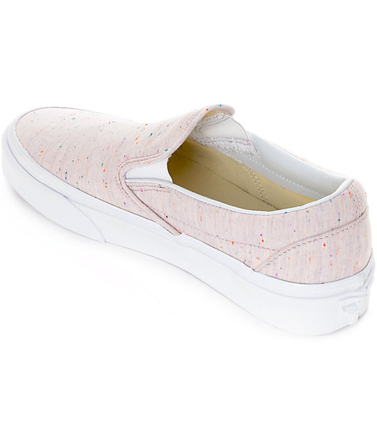Vans Slip-On Speckle Jersey zapatos rosas para mujeres