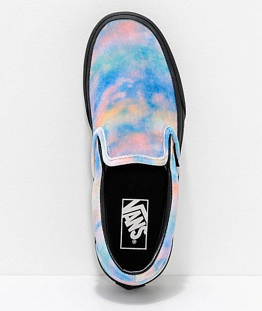 eb408e01ba ... Vans Slip-On Tie Dye   Black Velvet Platform Skate Shoes ...