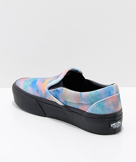 494f32330ee60b ... Vans Slip-On Tie Dye   Black Velvet Platform Skate Shoes ...