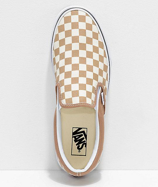 3302d16110 ... Vans Slip-On Tiger Eye Tan   White Checkered Skate Shoes ...