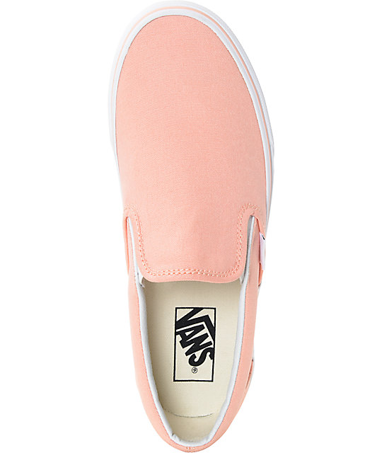 ac5f3ec0f9 ... Vans Slip-On Tropical Peach   White Canvas Shoes ...