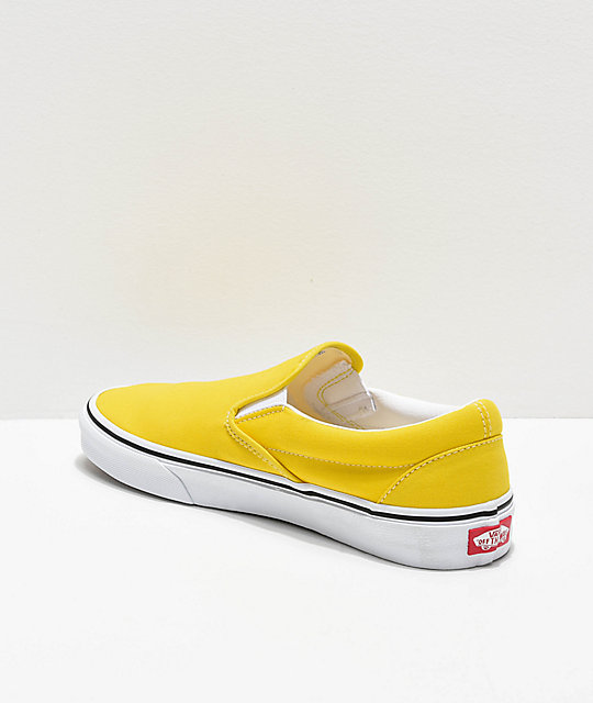 Vans Slip-On Vibrant Yellow & White Skate Shoes