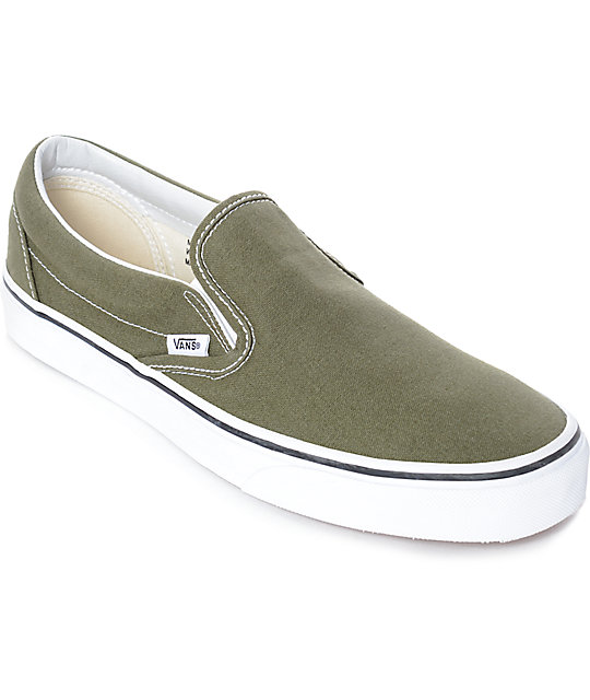 Green Vans Slip On Shoes