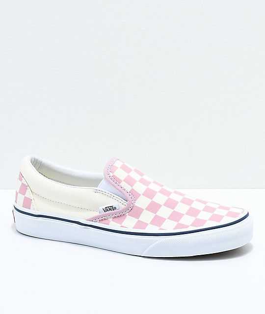 Vans Slip,On Zephyr Pink \u0026 White Checkered Skate Shoes
