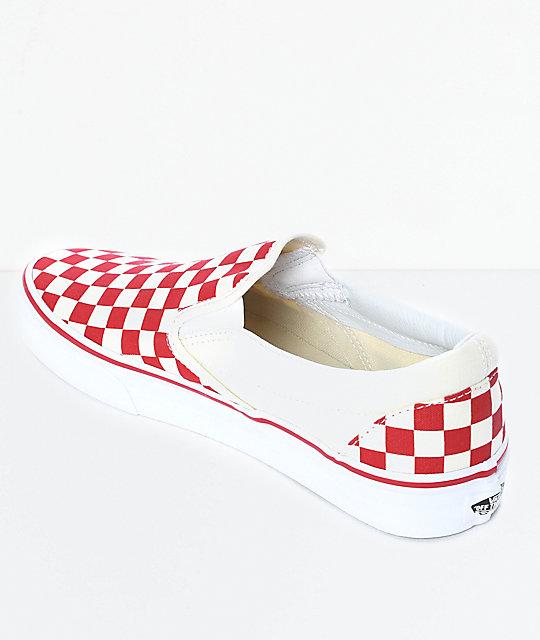 On blanco cuadros Vans skate a en Slip zapatos rojo de y Aqy5qcwCB
