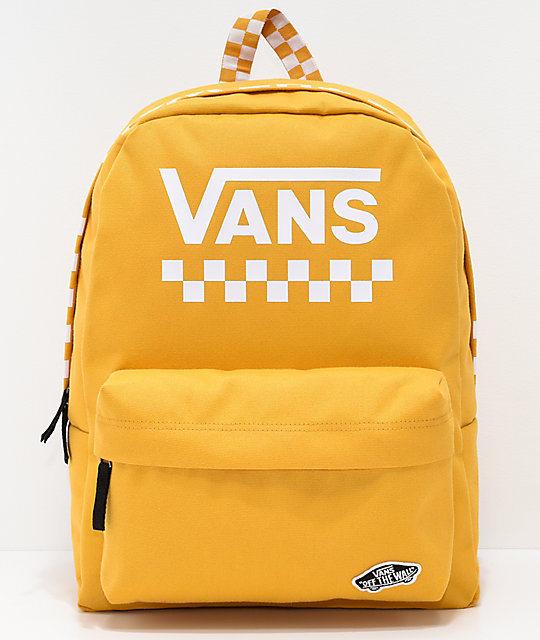 4c7ac099b388 Vans Sporty Realm Yellow Checkerboard Backpack