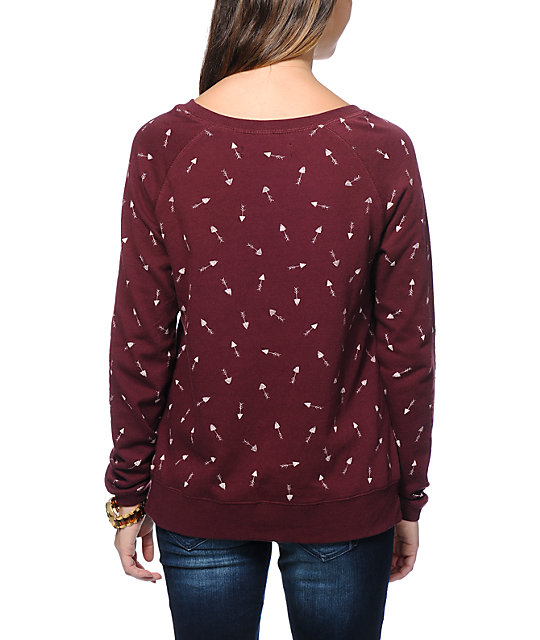 Vans Stormy Arrows Dark Red Crew Neck Sweatshirt