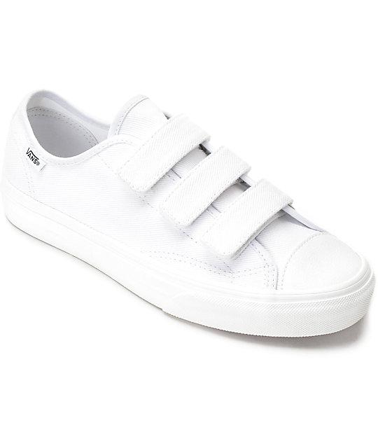 white leather velcro vans