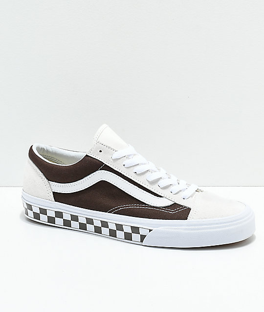 3ddc9b9dbe2f0c Vans Style 36 BMX Checkerboard Brown   White Skate Shoes