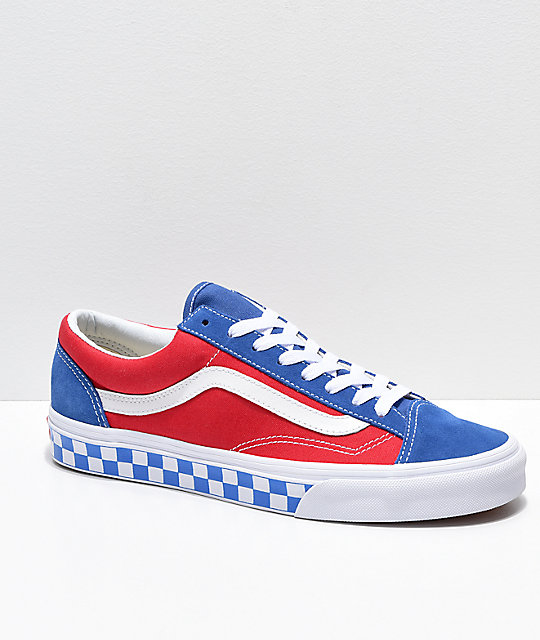 red blue and white checkerboard vans
