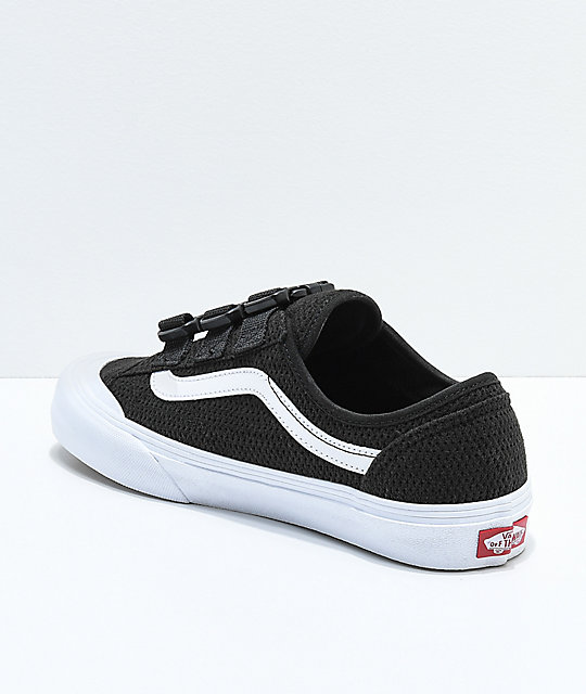 Vans Style 36 Black & White Mesh Buckle Skate Shoes