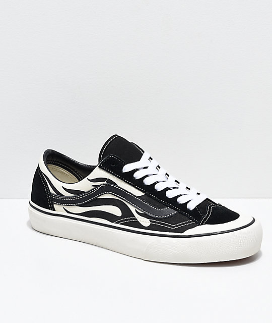 online here exceptional range of colors run shoes Vans Style 36 SF Flame Black & White Skate Shoes