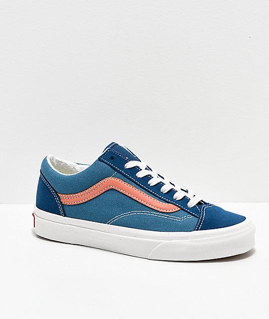07374740e94 Vans Style 36 Vintage Sport Blue   Peach Skate Shoes ...