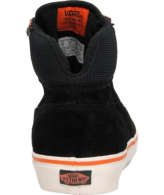 ... Vans Switchback Snow Black   Orange Skate Shoes ... a6c777e8fc