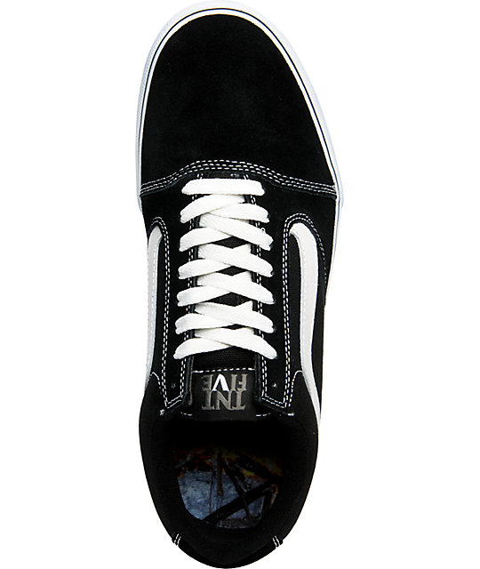 Vans TNT 5 Black & White Suede Skate Shoes