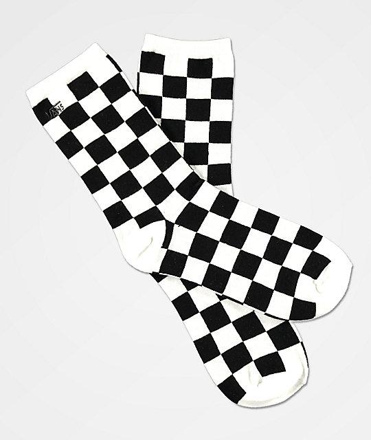 Vans Ticker Black White Checkered Socks Zumiez Ca