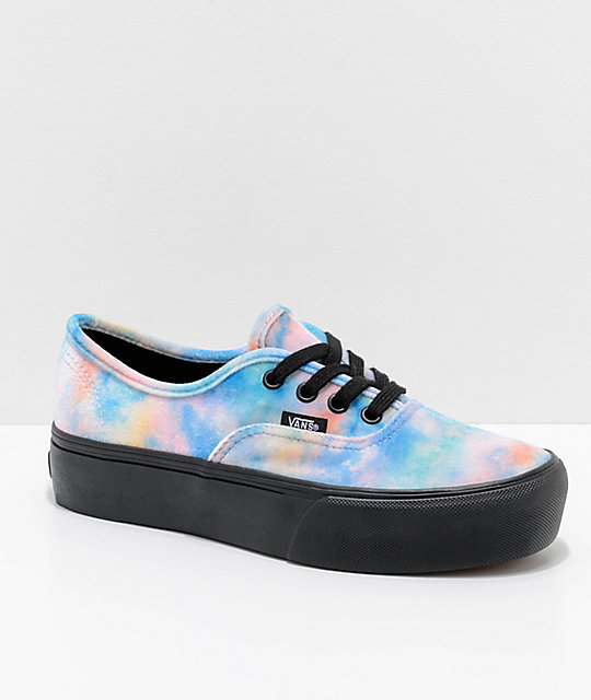 21157214ad1 Vans Tie Dye Velvet Authentic Platform 2.0 Skate Shoes