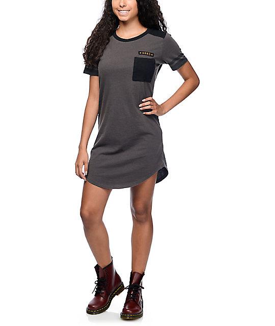 bb79665b3a ... Vans Tough Military Charcoal T-Shirt Dress ...