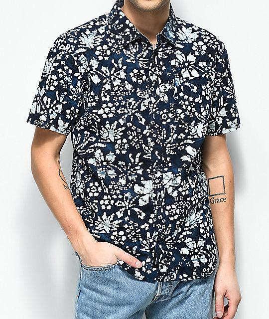 Vans trippin batik navy button up shirt zumiez for Men s batik bay silk blend button down shirt