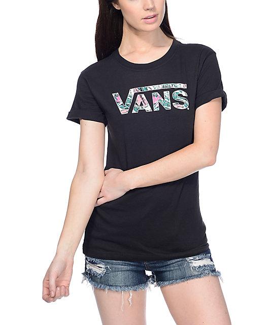 vans logo t shirt women's