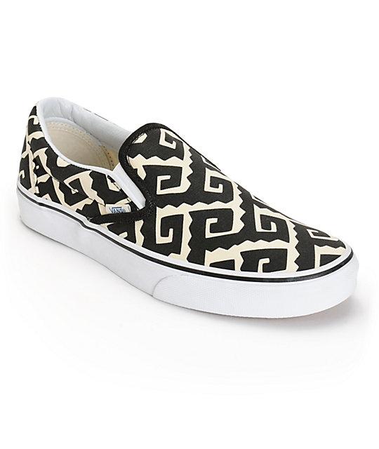 44d7ed2378cc90 Vans Van Doren Geo Tribal Slip-On Skate Shoes