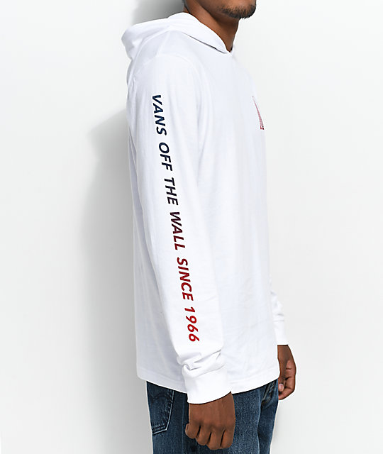 a775ab162e ... Vans Van Doren Hooded Long Sleeve White T-Shirt ...
