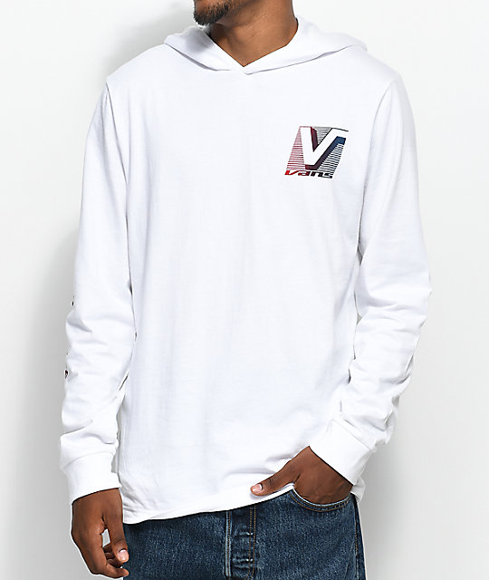 2477a909ea Vans Van Doren Hooded Long Sleeve White T-Shirt