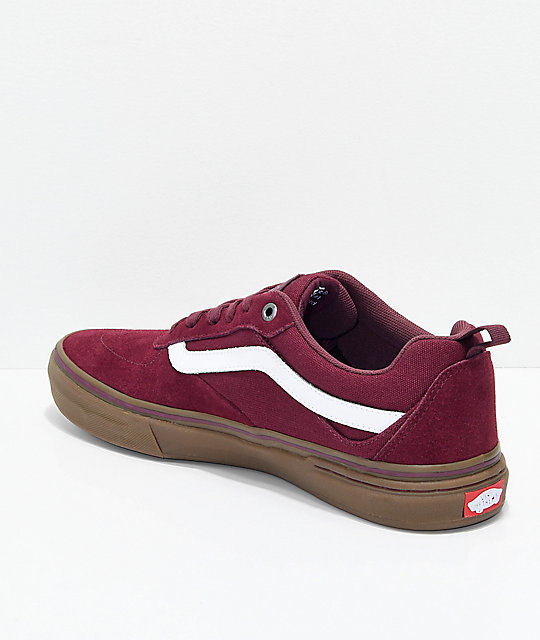 Vans Walker Pro Burgundy, White & Gum Skate Shoes