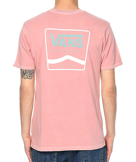 Vans White Amp Blue Side Stripe Rose Dyed T Shirt Zumiez