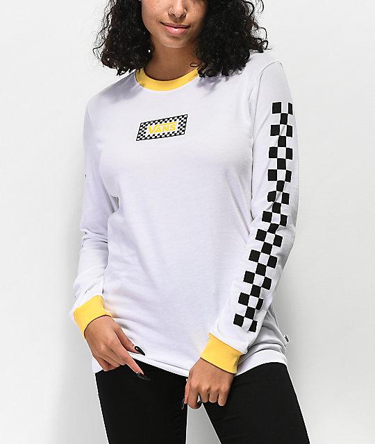 Vans White   Yellow Ringer Long Sleeve T-Shirt  be9d6ef9f