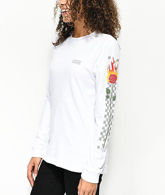 c06ff6176b Vans White Checkered Flame Rose Long Sleeve T-Shirt