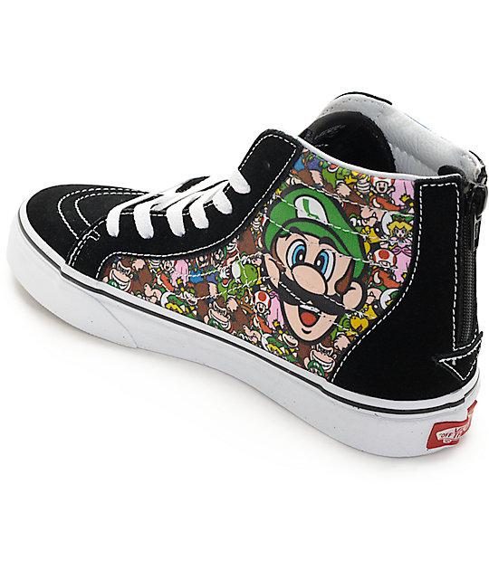 e8e263744e ... Vans X Nintendo Sk8-Hi Zip Mario   Luigi Kids Skate Shoes ...