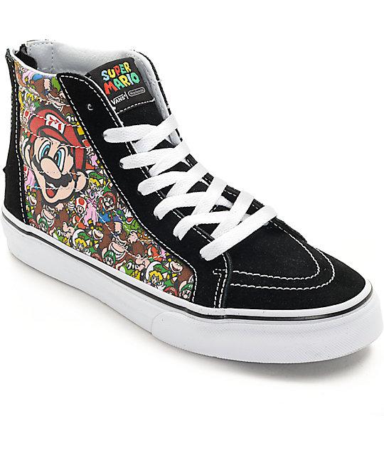 4eedfdcacde3 Vans X Nintendo Sk8-Hi Zip Mario   Luigi Kids Skate Shoes