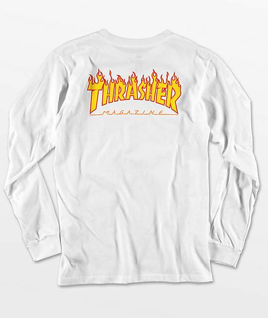... Vans X Thrasher Boys Checker White Long Sleeve T-Shirt 3c5b12087366