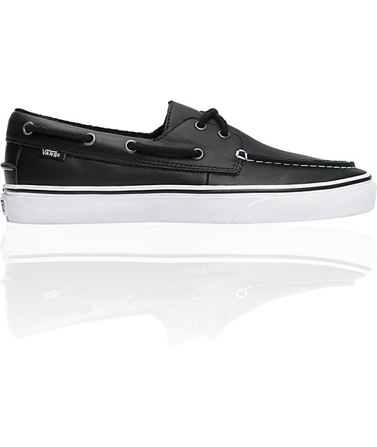 black vans boat shoes