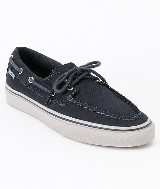 vans boat shoes black and white