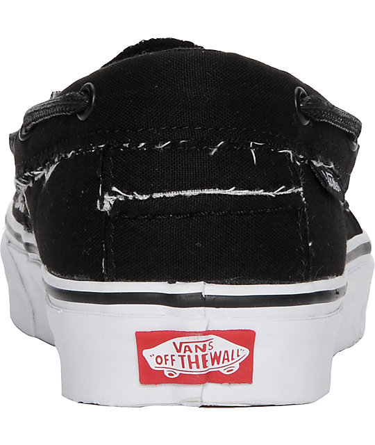 0271609c4322 ... Vans Zapato del Barco Black   White Skate Shoes ...
