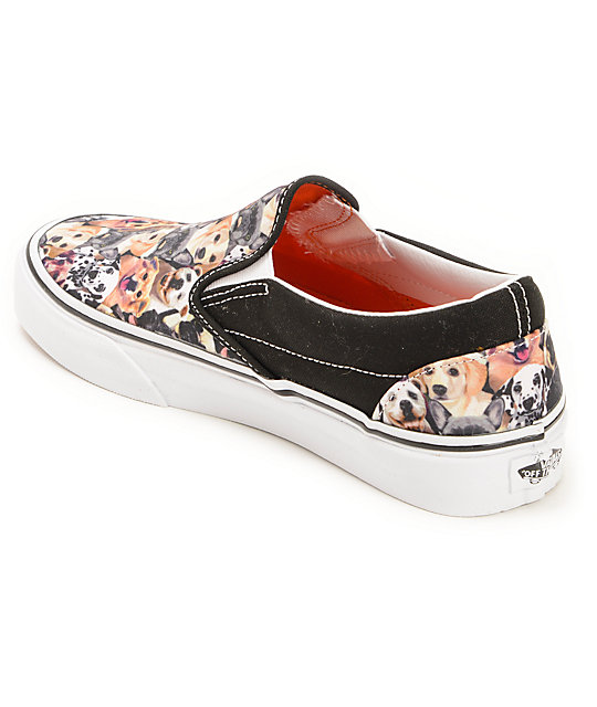 3845f206063 ... Vans x ASPCA Classic Allover Puppy Print Slip On Shoes ...