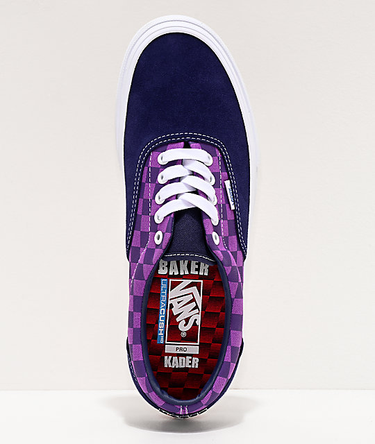 Vans x Baker Era Pro Kader Purple Check Skate Shoes