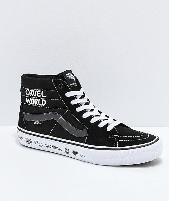 bf9a46af Vans x Cult Sk8-Hi Pro Black, Grey & White Skate Shoes