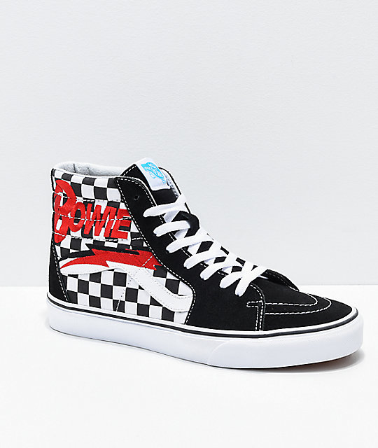 Vans x David Bowie Sk8 Hi Bowie Check Black & White Skate Shoes