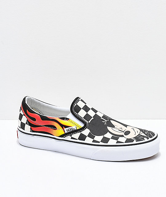 98997f307e Vans x Disney Slip-On Mickey   Minnie Checkerboard Flame Skate Shoes ...