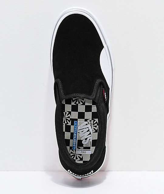 ... Vans x Independent Slip-On Pro Black   White Skate Shoes ... 793691cf1