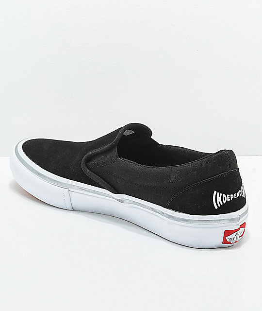 119577b34d9159 ... Vans x Independent Slip-On Pro Black   White Skate Shoes ...