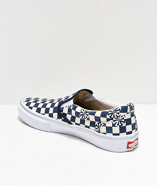 113e920ed31982 ... Vans x Independent Slip-On Pro Blue   White Checkerboard Skate Shoes ...