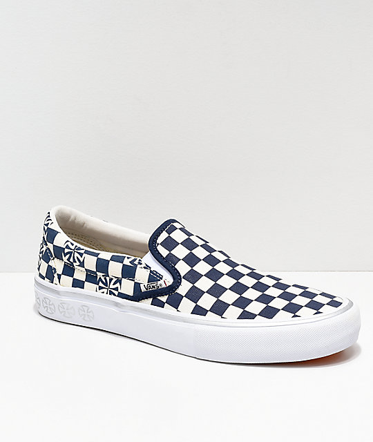 98b54b71ea Vans x Independent Slip-On Pro Blue   White Checkerboard Skate Shoes ...
