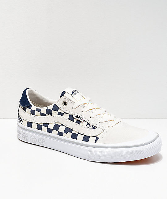 574cdddde7c345 Vans x Independent Style 112 Blue   White Checkerboard Skate Shoes ...